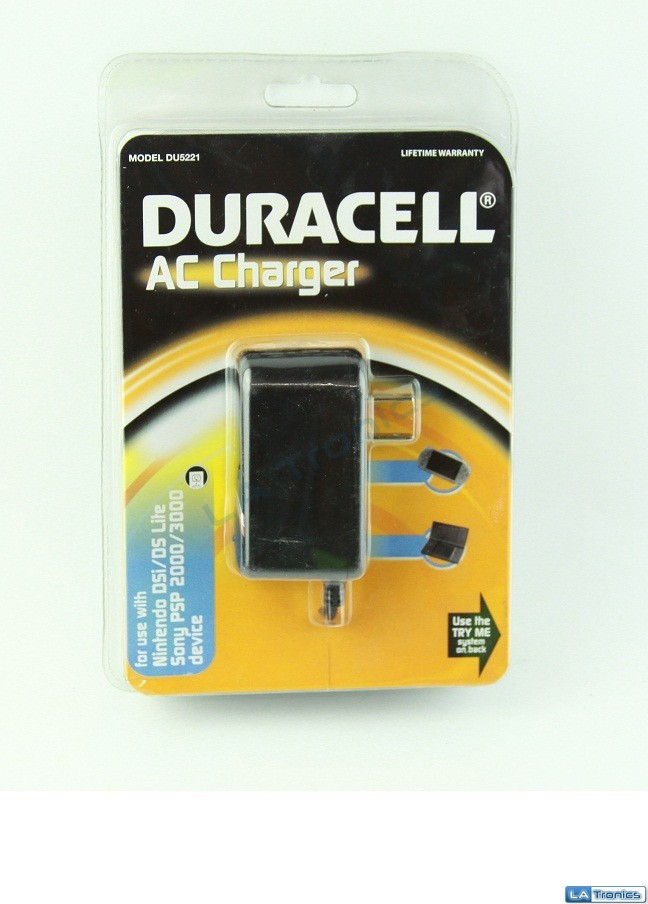 New Duracell AC Wall Charger DU5221 For PSP 2000/3000 Nintendo DSI/DS Lite