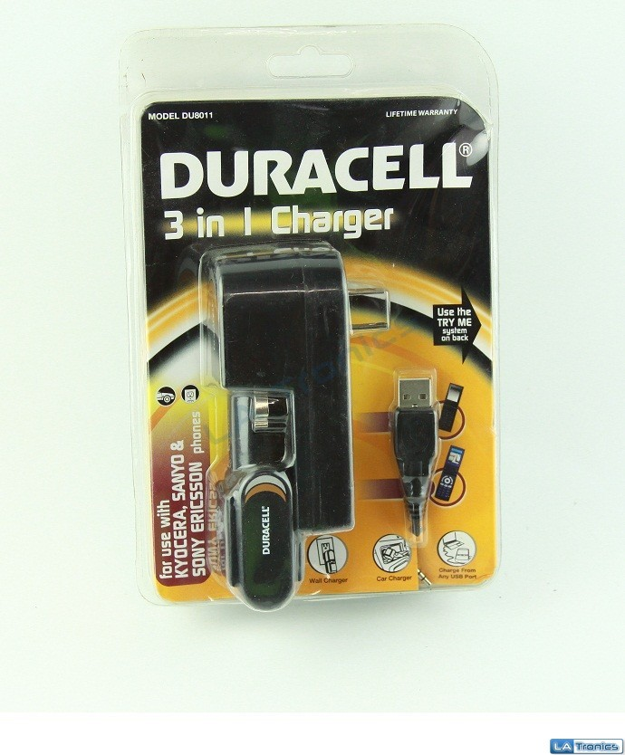NEW Duracell 3 In 1 AC Wall/Car Adpater DU8011 For Kyocera Sanyo & Sony Ericsson