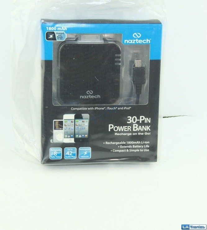 New Naztech PB1800 30-Pin Power Bank 1800mAh for iPhone 4 iPod Touch and iPod