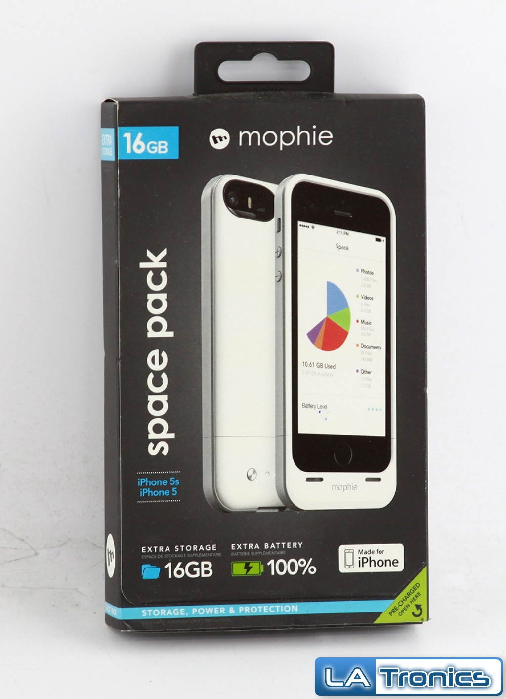 New Mophie Space Pack 16GB 2616 for Iphone 5 Recharging Portable Case - WHITE