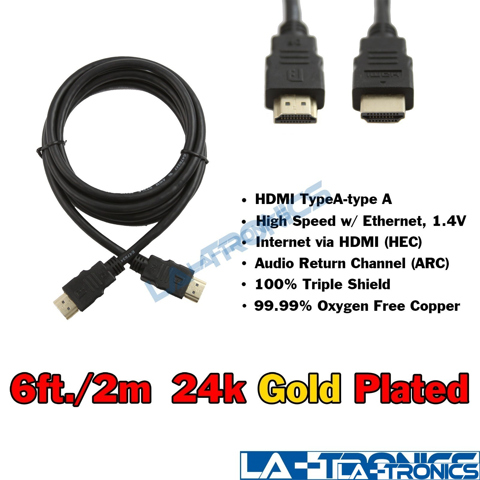 NEW Premium 6ft HDMI 24K Gold Plate 1.4V Cable male to male Full HD 1080p HDTV