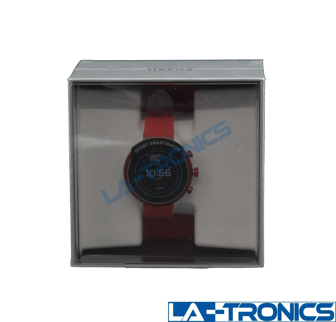 NEW Women's Fossil DWF91 41mm Red Silicone Sport Smartwatch