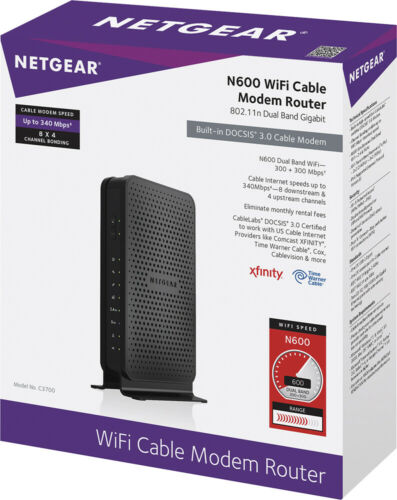 Netgear C3700-100NAS N600 Wi-Fi DOCSIS 3.0 Dual Band Cable Modem Router